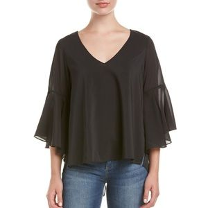 Black long sleeve open back blouse size small